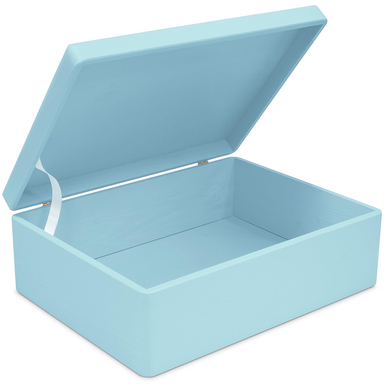 Grinscard Boîte commémorative en Bois de Taille Moyenne pour Les Garçons - Pin laqué Bleu env. 40 x 30 x 14 cm