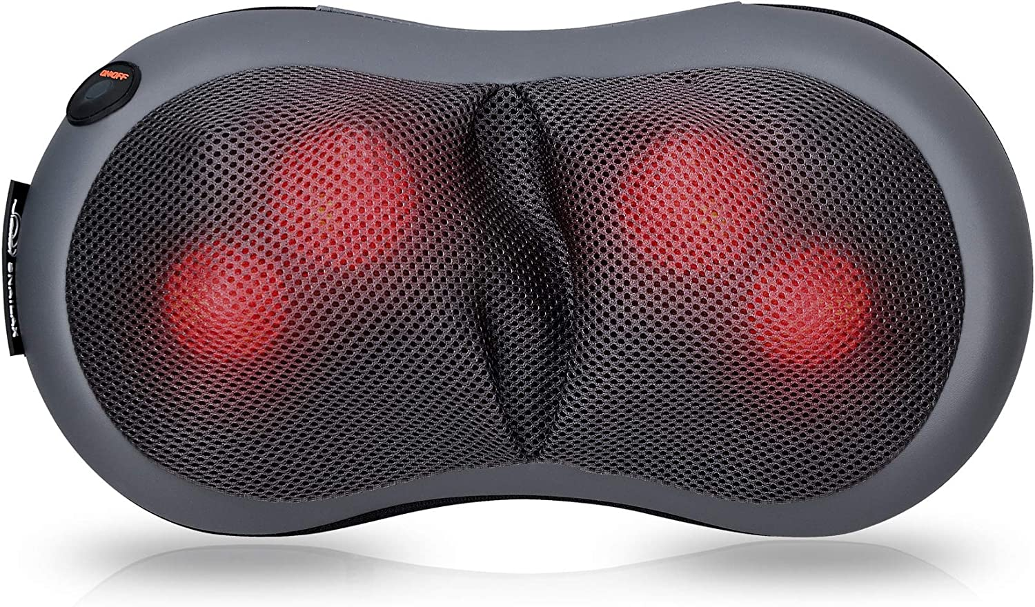 SNAILAX Shiatsu Neck and Back Massager with Heat Deep Tissue Kneading Massage Cushion Portable Pillow Massager for Neck and Shoulder Back,Waist, Relief Muscle Soreness and Pain SL618