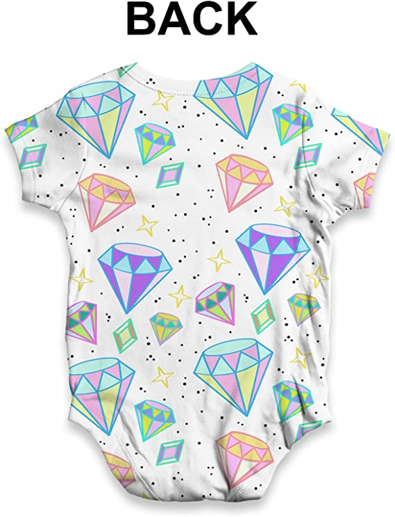 Diamonds And Gems Pattern Baby Unisex Funny ALL-OVER PRINT Baby Grow Bodysuit