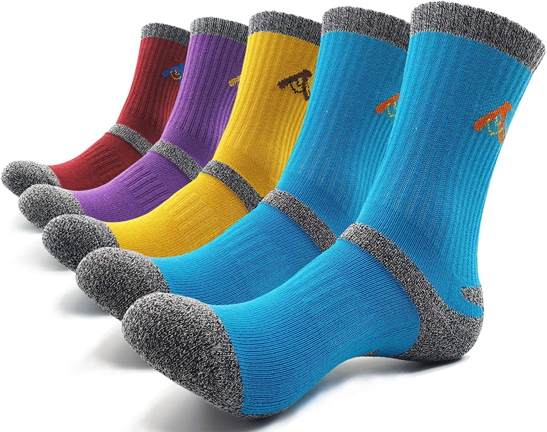 PEACE OF FOOT Hiking Socks boot socks For Womens 5 Pairs Multi Outdoor Sports Trekking Climbing Camping working Crew Socks