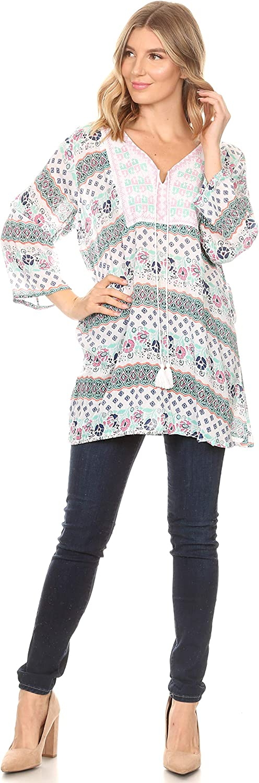Sakkas Matia Womens Casual Summer Cotton Long Sleeve Print Loose Tunic Top Blouse