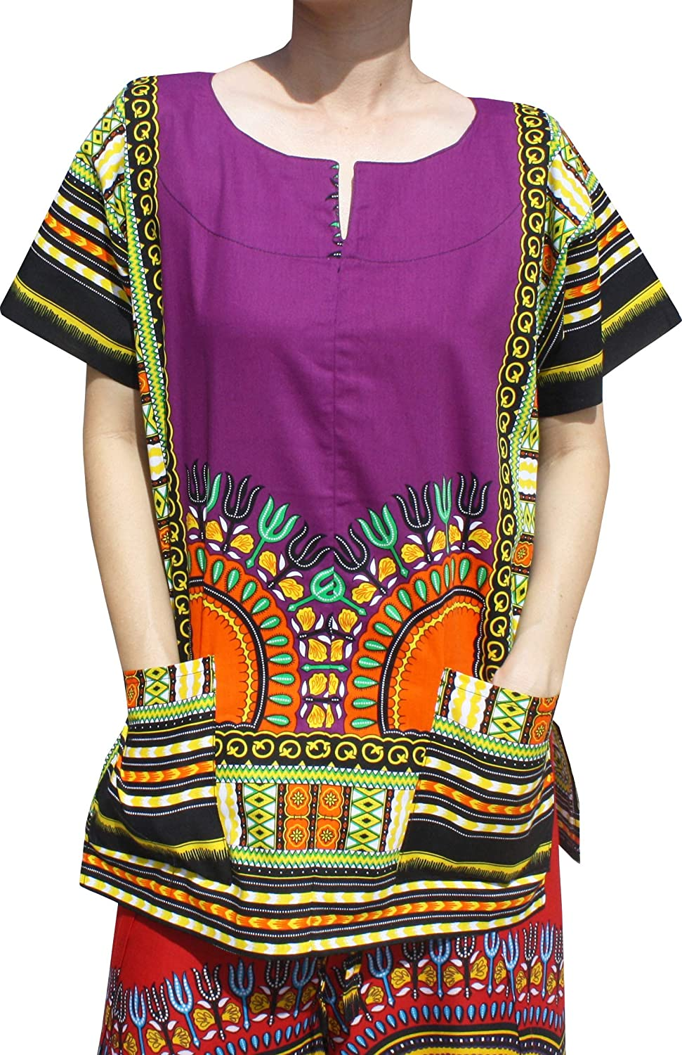 Patriarch purple RaanPahMuang Front Split African Dashiki Traditional Cotton Shirt Two Pockets
