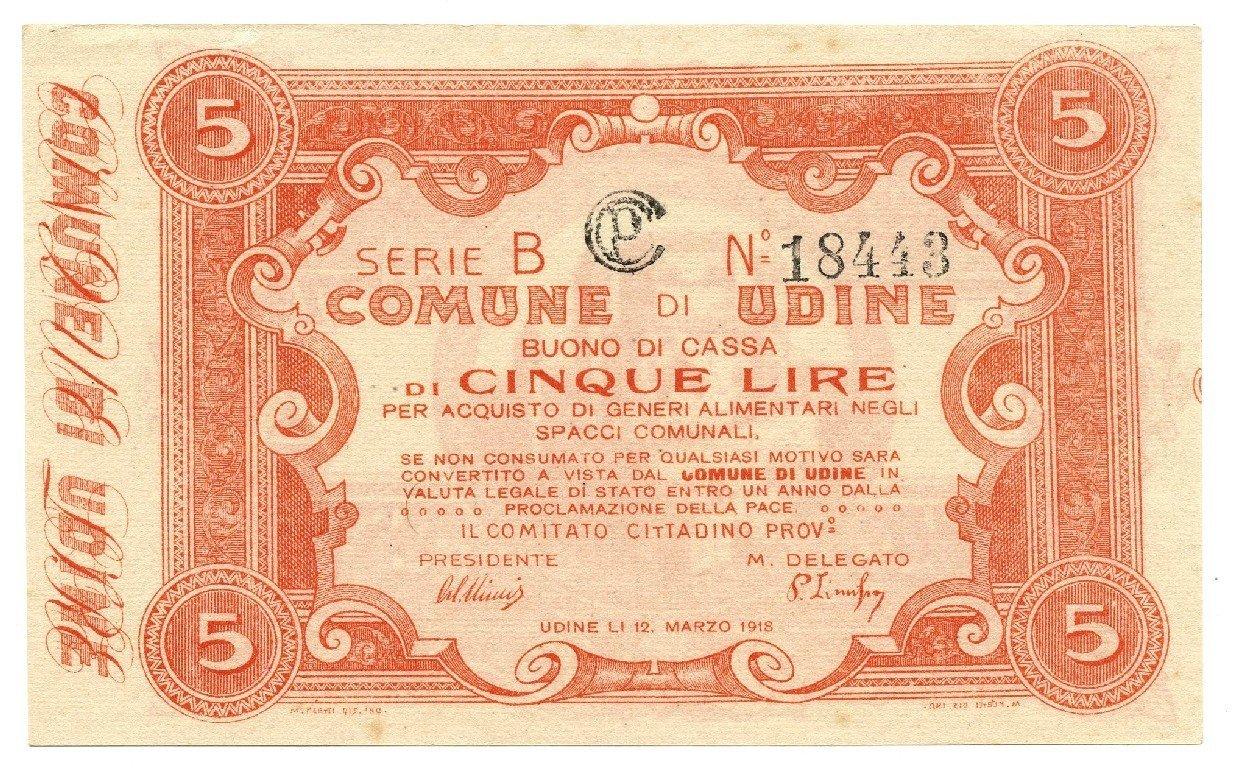 Cartamoneta  5 Lire Buono di Cassa Comune di Udine 12 03 1918 qFDS