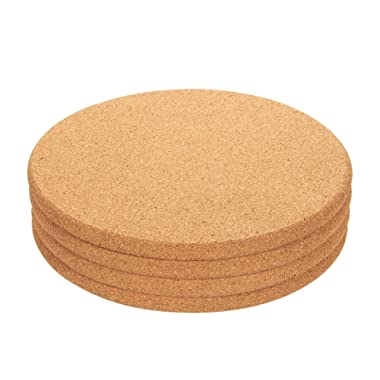 Juvale 4-Pack Cork Trivet Set - Round Corkboard Placemats Kitchen Hot Pads for Hot Pots, Pans, and Kettles, 9 x 9 x 0.5 Inches