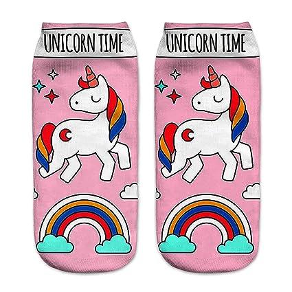 Z-Chen Pack de 6 pares de calcetines Tobilleros para Mujer Dibujo de Unicornio: Amazon.es: Ropa y accesorios