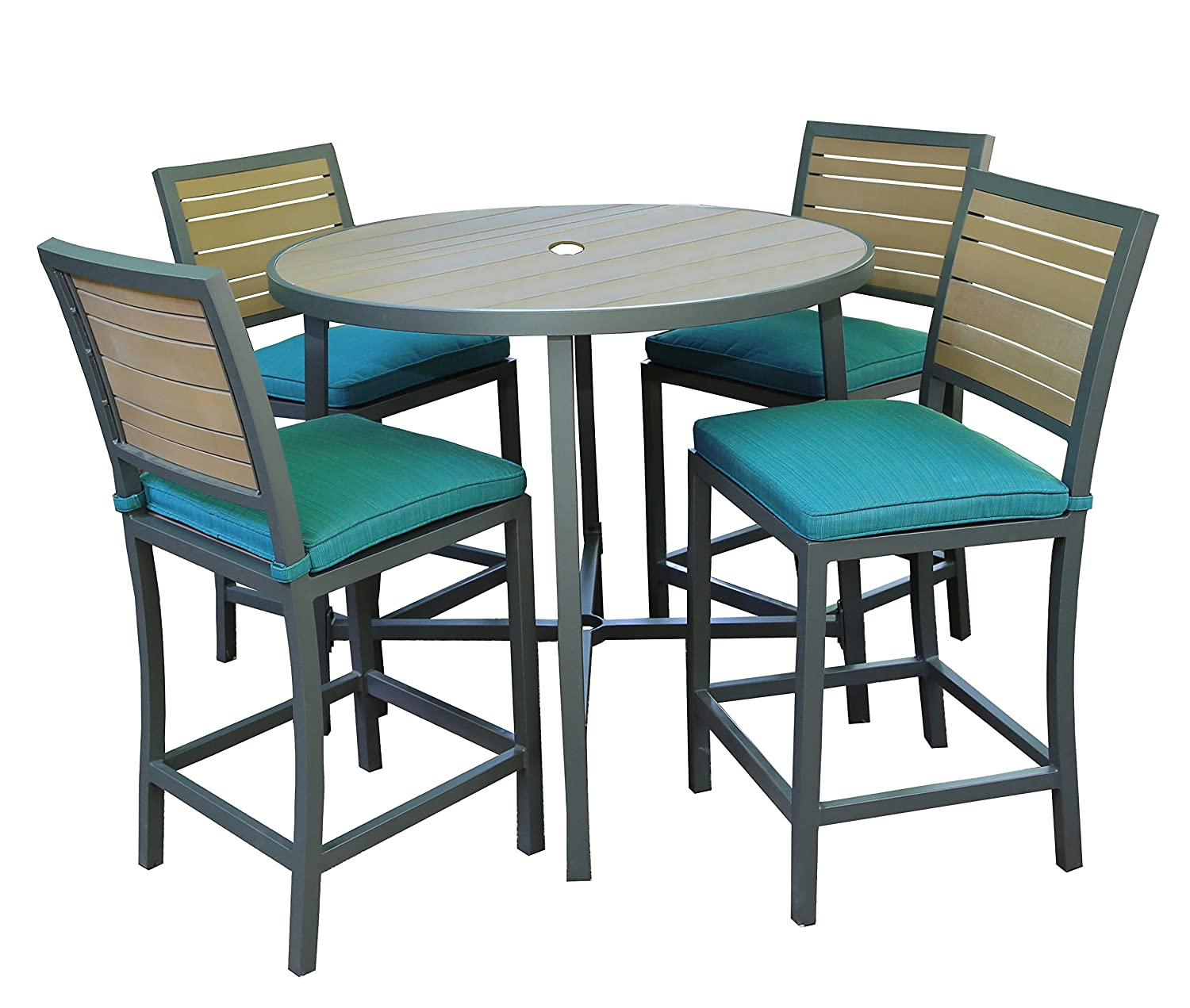 Amazon.com: AE Outdoor All Weather Woodbridge High Dining Set With  Sunbrella Fabrics: Garden U0026 Outdoor