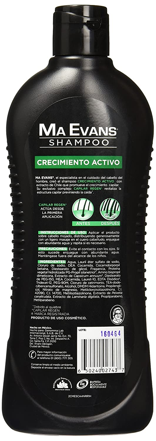 Amazon.com: Ma Evans shampoo with active chile extract/crecimiento activo 400 ml Chile: Beauty