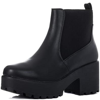 BGSPY Women's Platform Block Heel Ankle Boots Pumps