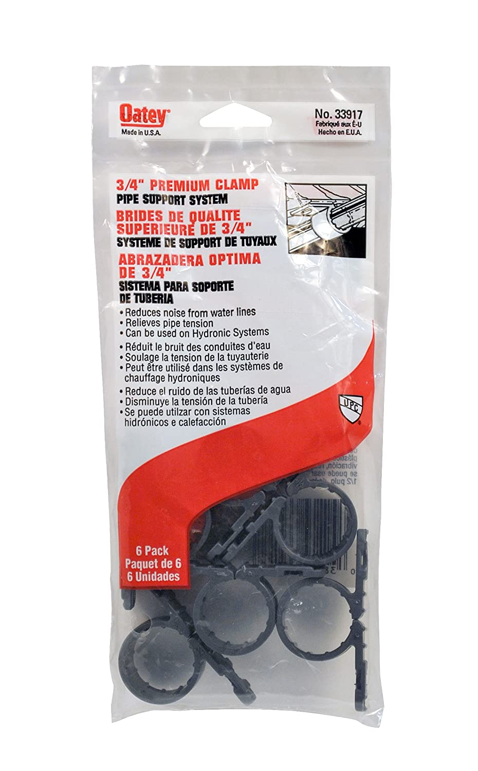 Oatey 33917 Standard Pipe Clamp (6 in Polybag), Gray, 3/4-Inch