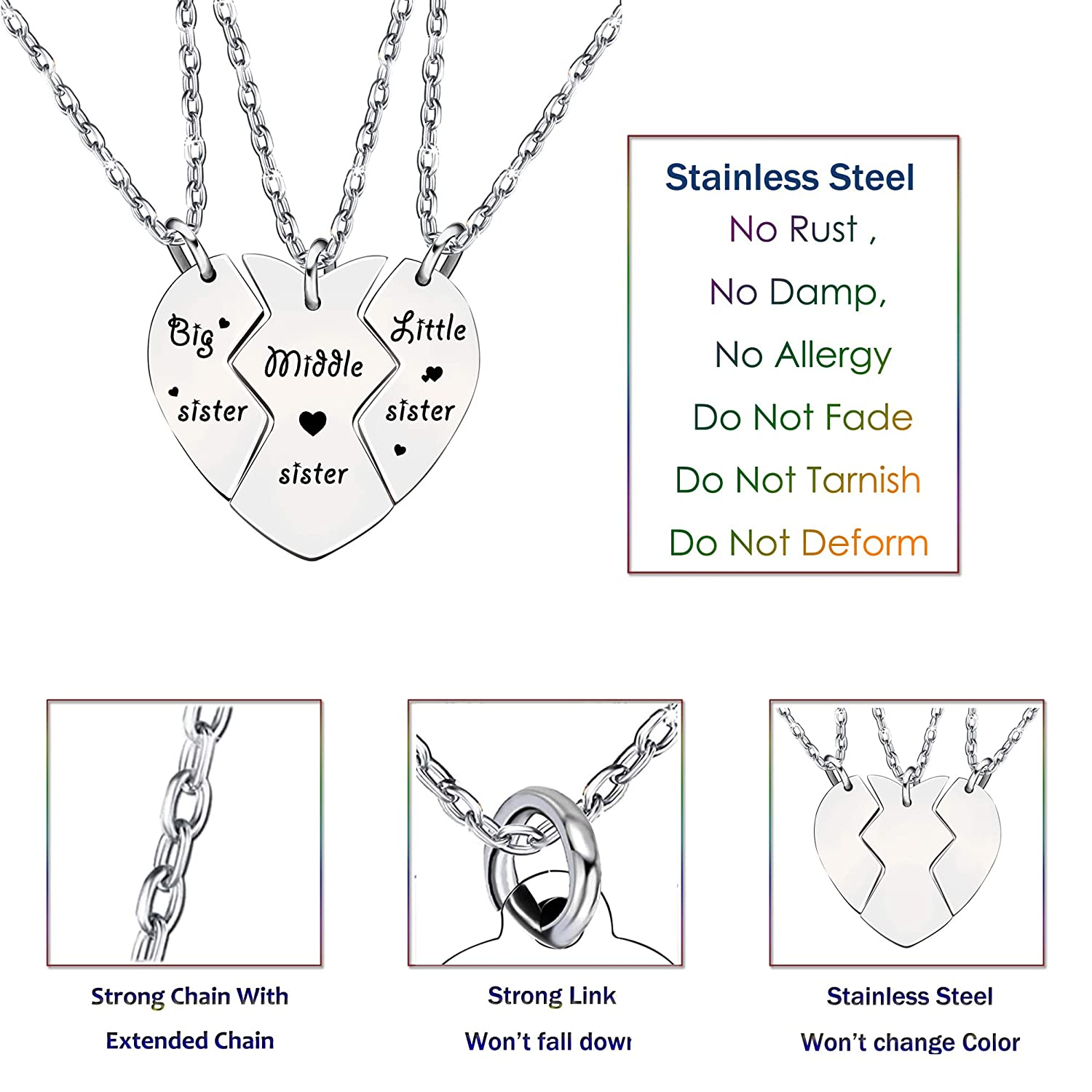 3pcs Sister Necklace Set Big Sister Middle Sister Little Sister Gifts for Women Girl Christmas Stainless Steel