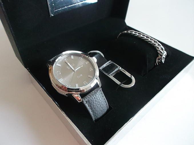 Sami RSM-43480-4 Conjunto de Reloj de caballero esfera de metal color plata fondo gris correa de piel color gris, pulsera metal y llavero: Amazon.es: ...