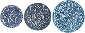 Stratton Home Décor Stratton Home Decor Set of 3 Mykonos Metal Plates Wall Décor, Blue, White