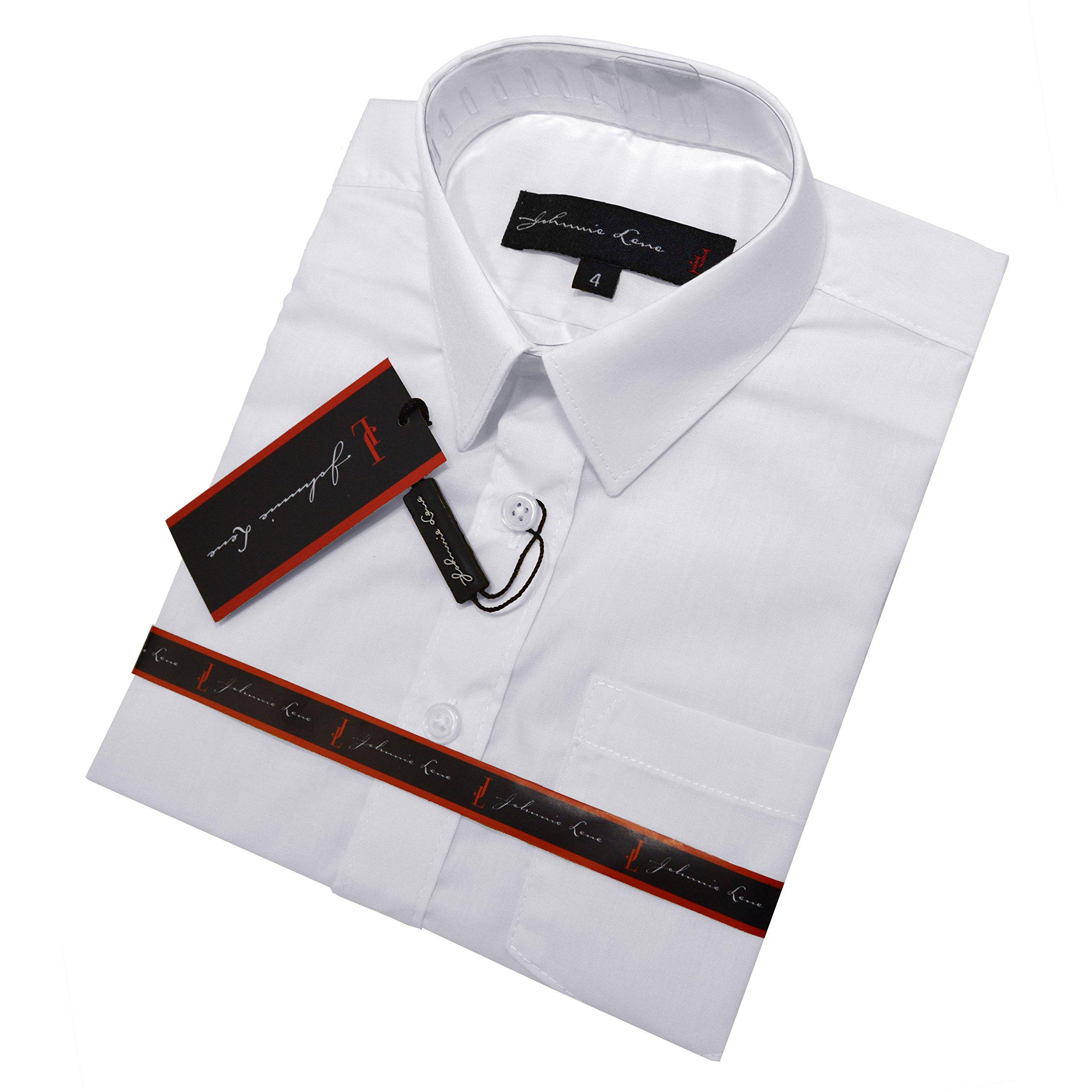 Johnnie Lene Boys Short Sleeves Solid Dress Shirt #JL44 (10, White) by Johnnie Lene (Image #2)