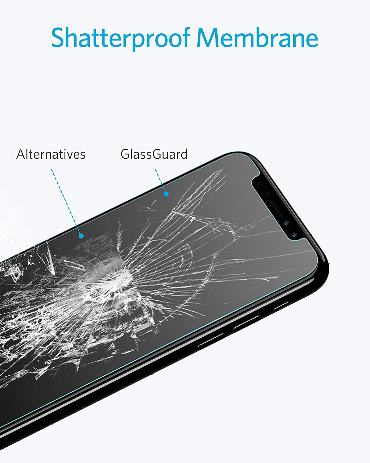 brand new 492eb b4a32 Amazon.com  Anker GlassGuard Screen Protector for iPhone X iPhone Xs iPhone  5.8 Inch with Alignment Frame for Easy, Bubble-Free Installation and ...
