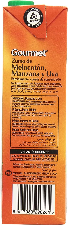 Gourmet - Zumo de melocotón, manzana y uva - Parcialmente a partir de concentrado - 1 l: Amazon.es: Alimentación y bebidas