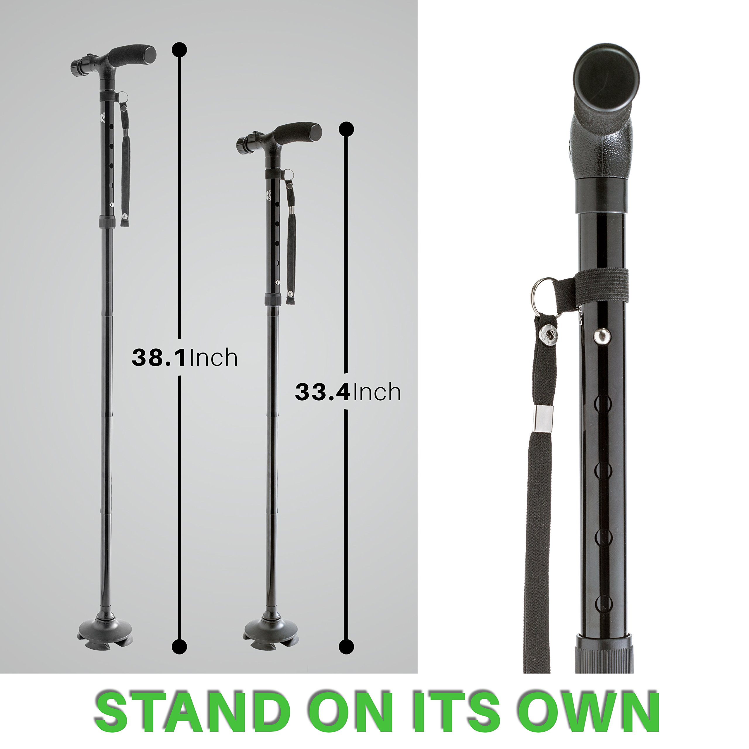 Walking Cane by Dr. Maya with Free Cane Tips & LED Lights - Lightweight, Adjustable, Foldable, Pivoting Base, Quad Travel Balance Stick Support for Elderly Men and Women - Walker Gift for Seniors! by Dr. Maya (Image #5)
