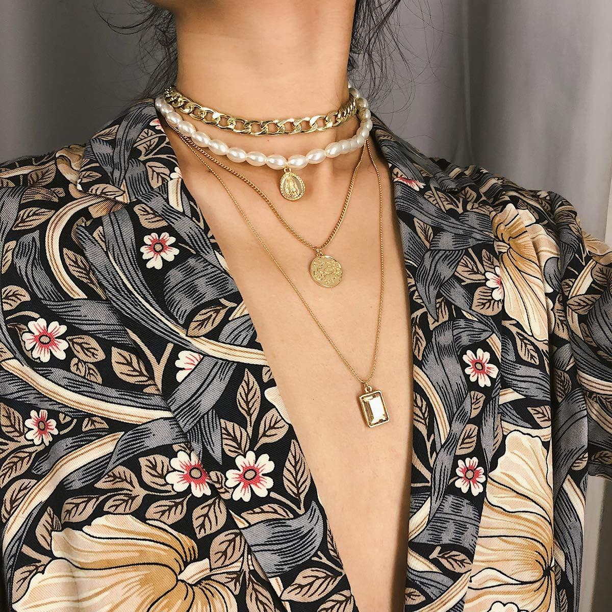 Anglacesmade - Gargantilla de oro con capas de perlas y moneda de Santa María, collar con colgante de piedra preciosa para mujeres y niñas