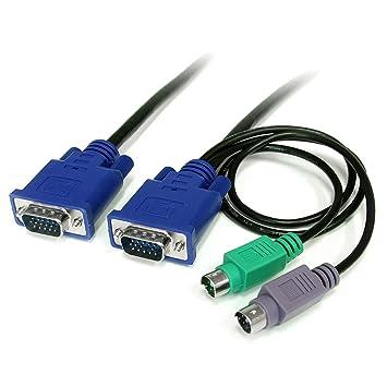StarTech.com Cable KVM de 1,8m Ultra Delgado Todo en Uno VGA PS