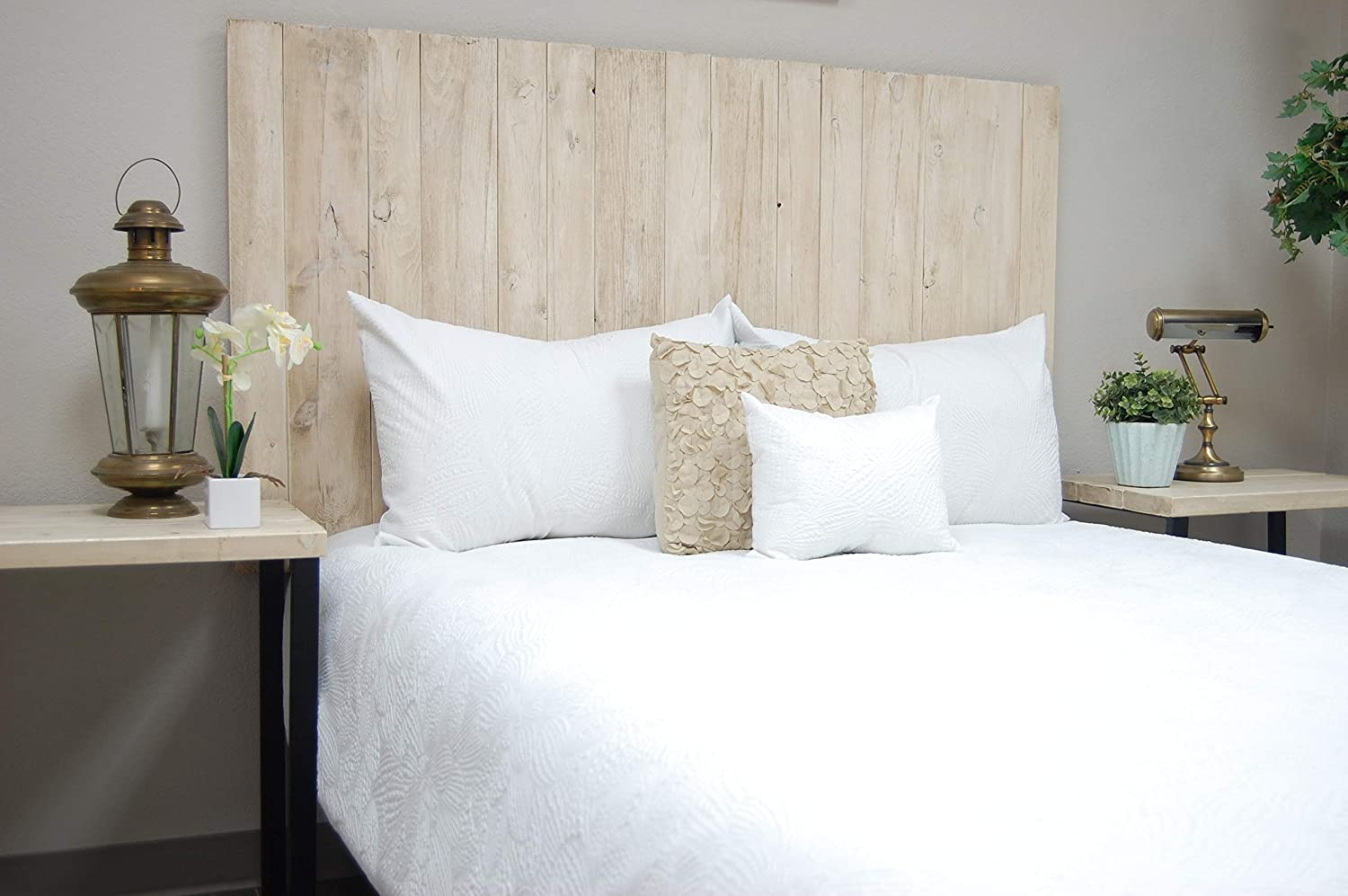 Antique White Headboard Weathered King Size, Hanger Style, Handcrafted. Mounts on Wall. Easy Installation