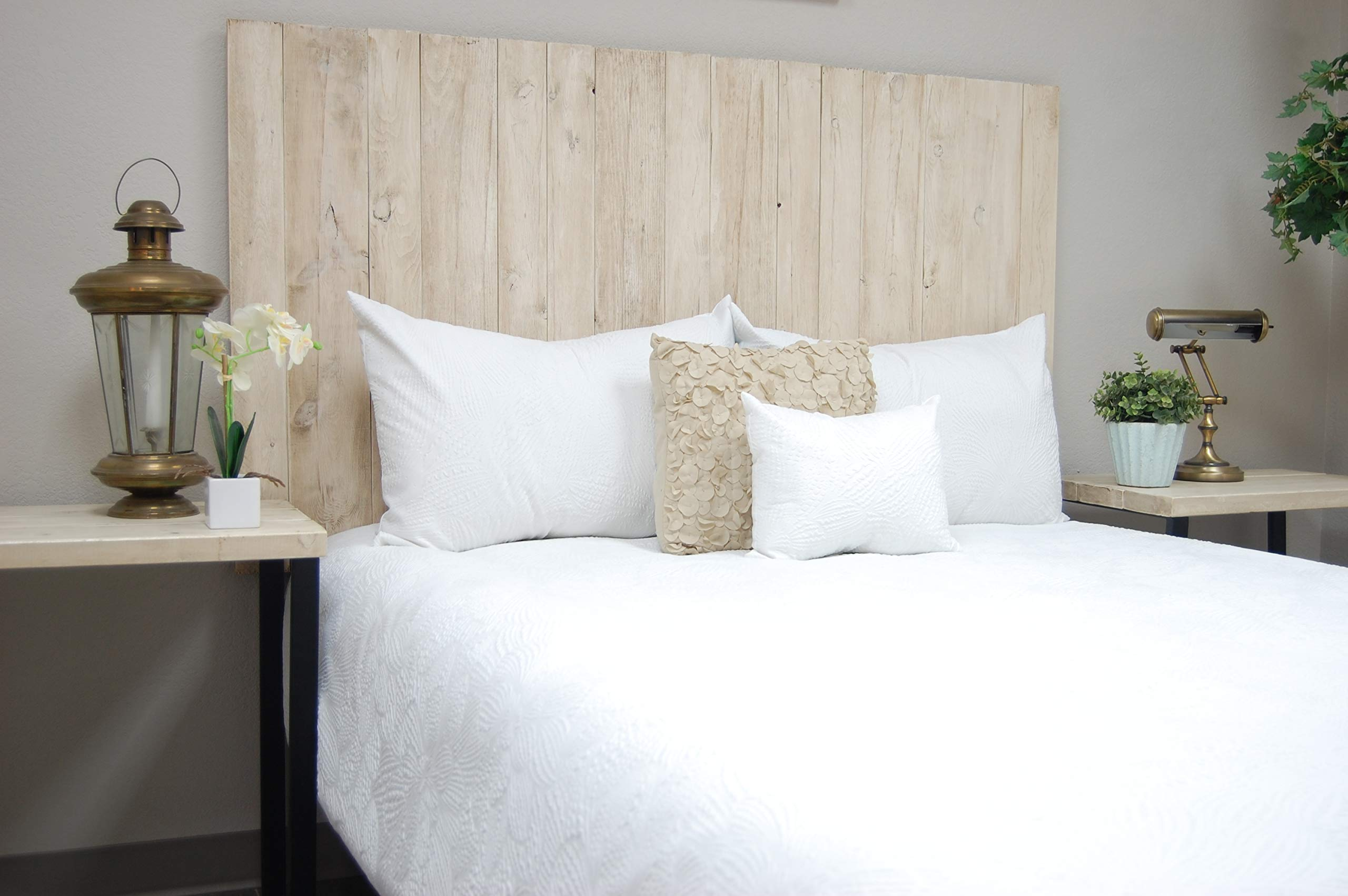 Antique White Headboard Full Size Weathered, Hanger Style, Handcrafted. Mounts on Wall. Easy Installation by Barn Walls