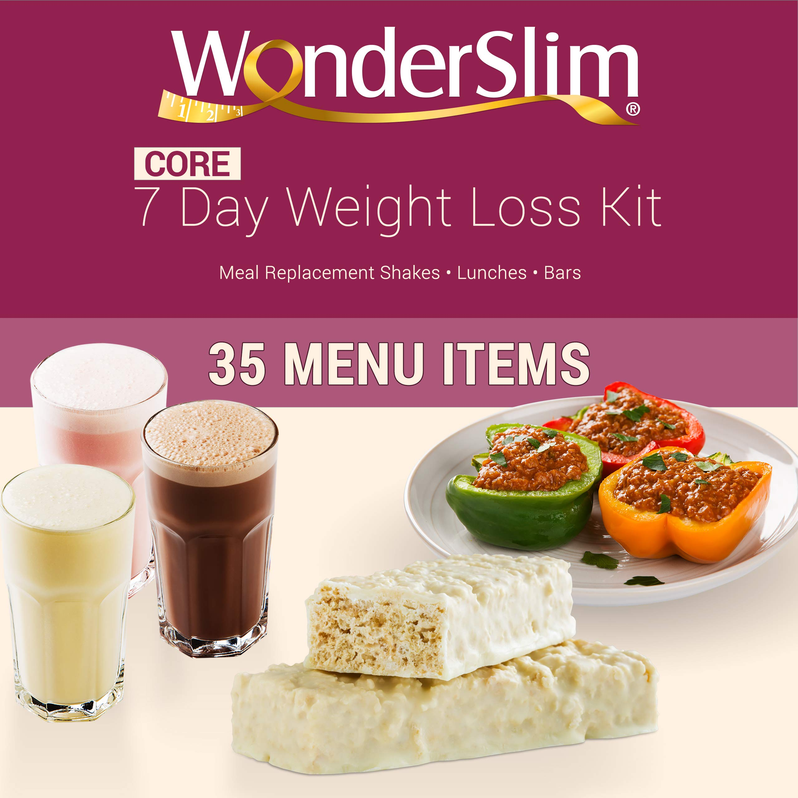 WonderSlim Core 1 Week Diet Kit - Complete Weight Loss Package - Meal Replacements, Protein Supplements, Snacks and Lifestyle Guide by WonderSlim