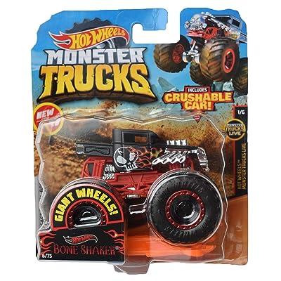 Hot Wheels Monster Trucks 1:64 Scale Bone Shaker Crushable Car 6/75, Black/red: Toys & Games