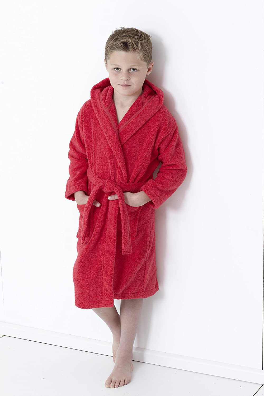 Red, 9//10 Years Great Knot Zero Twist Hooded Unisex Kids Bathrobes