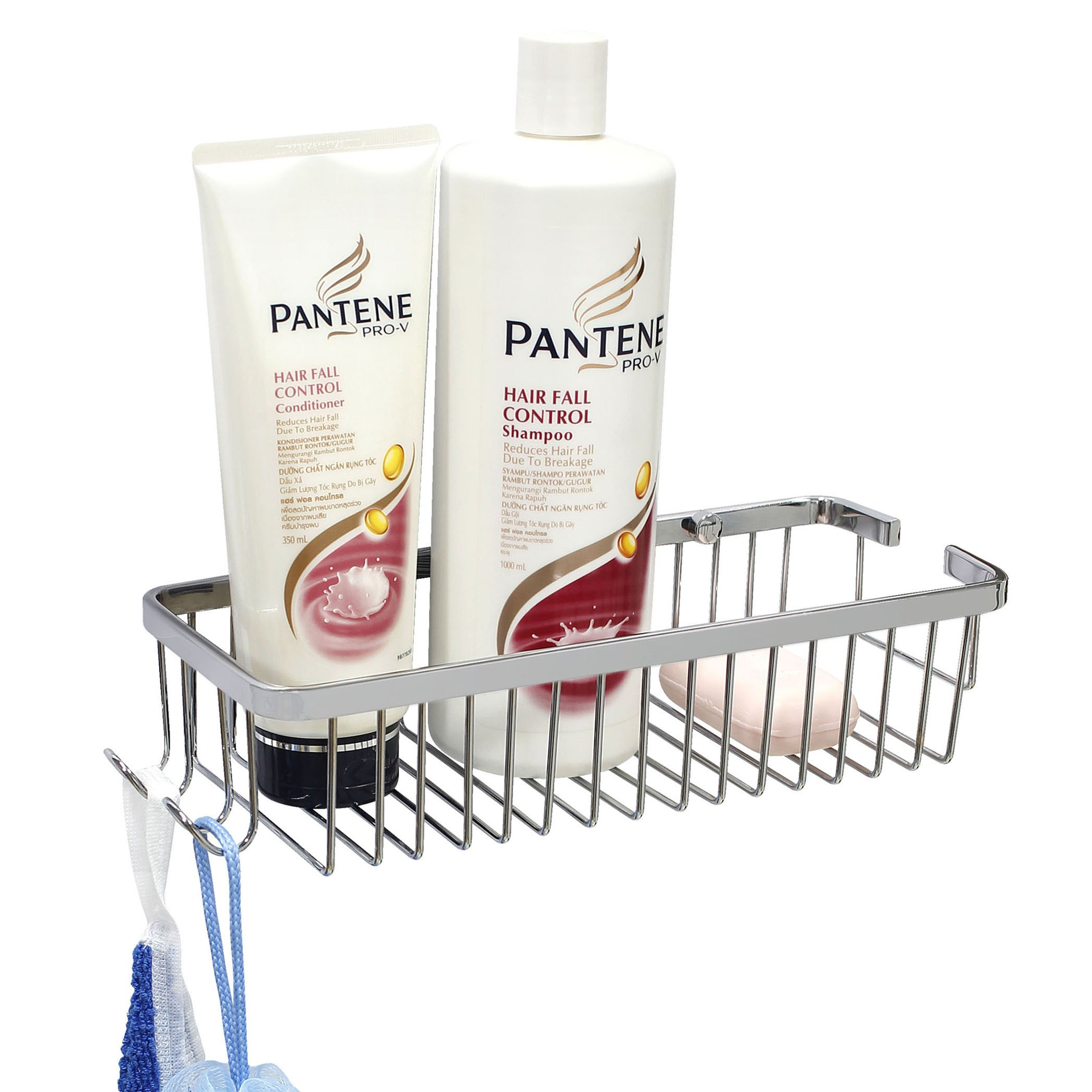 MODONA Wall Mounted 12.5'' Soap and Bottle Basket with Concealed Screws