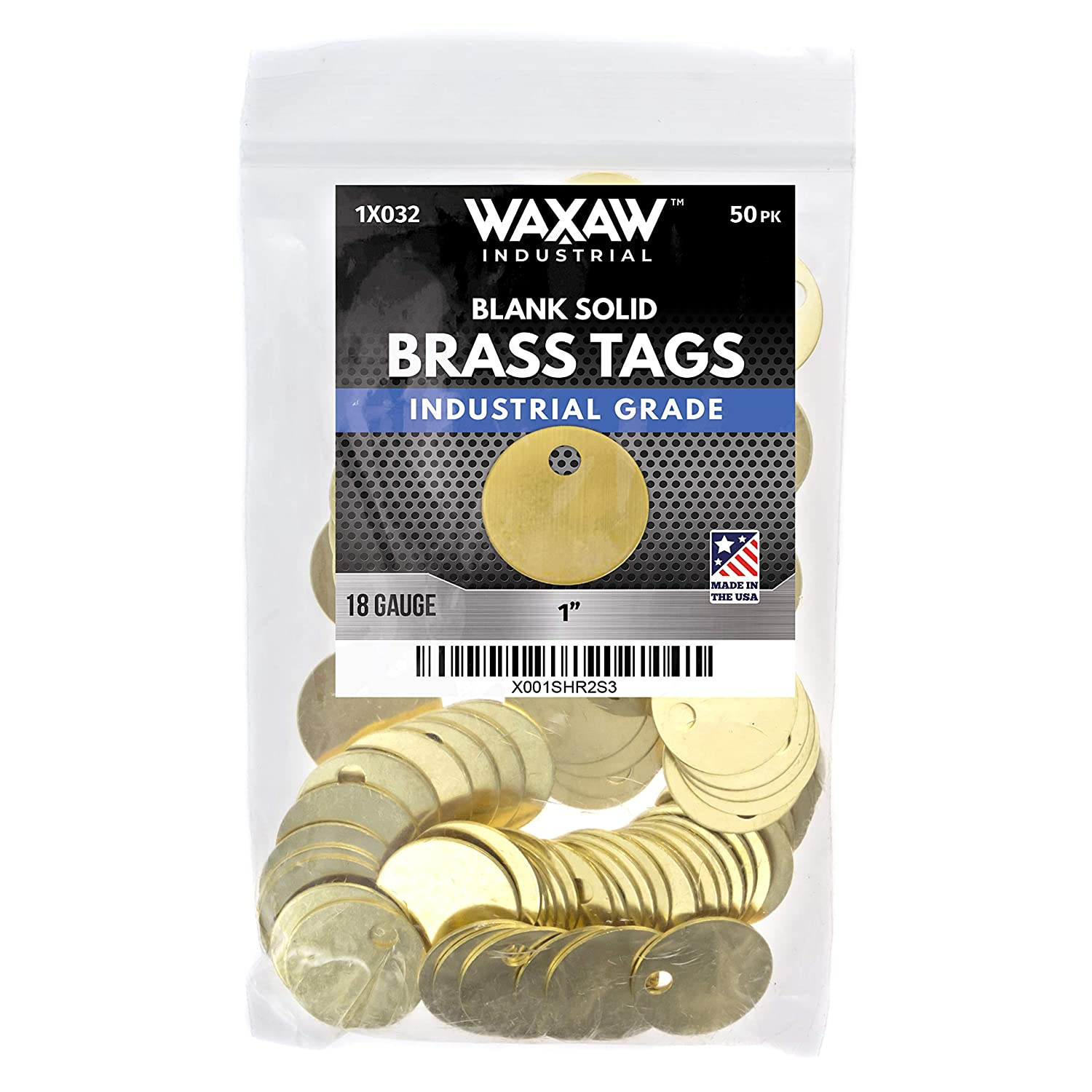 """1"""" Solid Brass Stamping Tags (50 Pack) Industrial Grade 0.040"""" Blank Chits for Pipe Valves, Keys, Tool and Equipment Labeling 