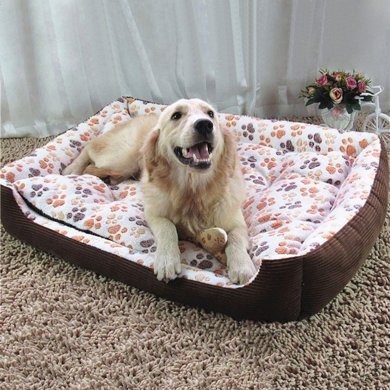 Amazon.com : Warm Corduroy Padded Dog Bed Waterproof Washable Pet House Mat Perros Soft Sofa Kennel Dogs Cats House for Large Dogs, Pink, XXL 80x65cm : Pet ...