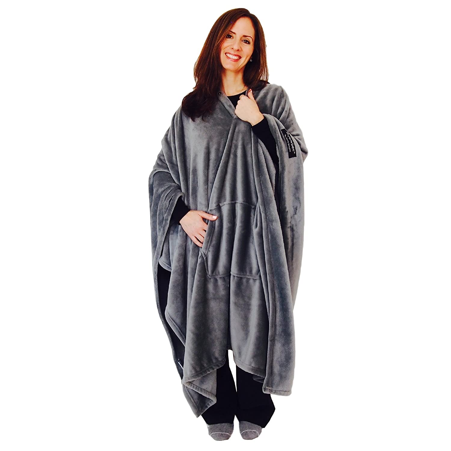 throwbee Original Blanket-Poncho Gray Grey (Yay! NO Sleeves) Best Wearable Blanket on The Planet Soft Throw Indoors or Outdoors - Adults Men Women Kids