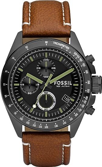 e459755de70c Fósil de hombre negro + Decker Cronógrafo Reloj con correa de piel marrón -  CH2687  Fossil  Amazon.es  Relojes