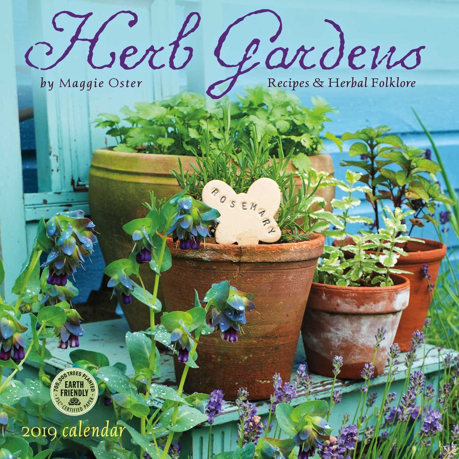 Herb Gardens 2019 Wall Calendar: Recipes & Herbal Folklore Calendar – Wall Calendar, June 19, 2018 Maggie Oster Amber Lotus Publishing 1631364103 Gardening