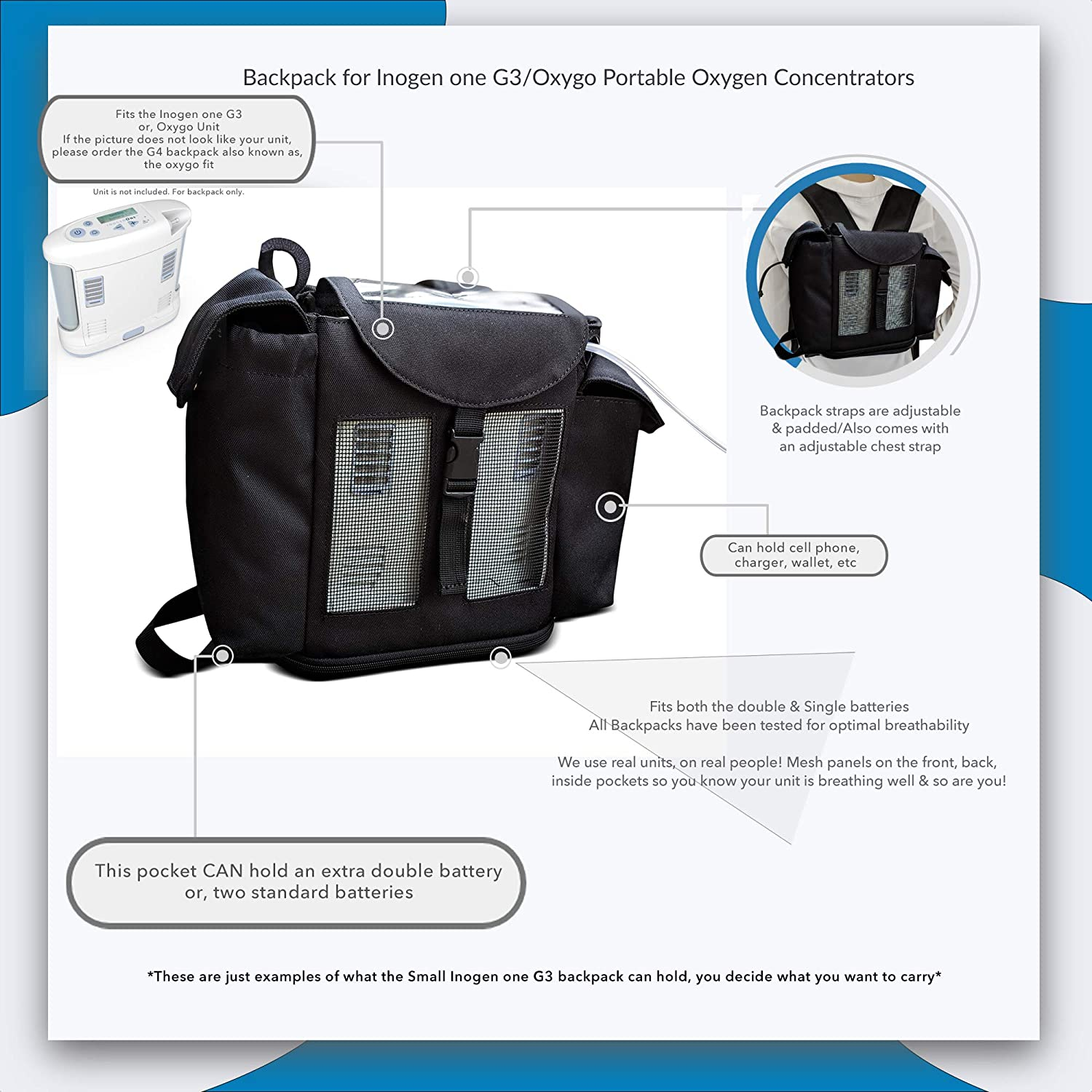 cc57b0b28 Amazon.com: Inogen One G3 Backpack and Oxygo, Wallet, Phone, Inogen  Accessories, Small Backpack for Inogen g3/o2totes: Health & Personal Care
