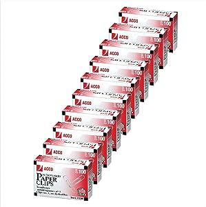 ACCO Paper Clips, #1 Size, Economy, Non-skid, 10 Boxes, 100/Box (72385)
