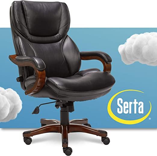 Serta Big and Tall Executive Office Chair with Wood Accents - Unique Design