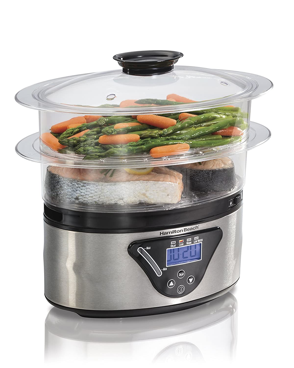 Hamilton-Beach 37530A 5.5 Quart Digital Food Steamer, Silver Hamilton Beach