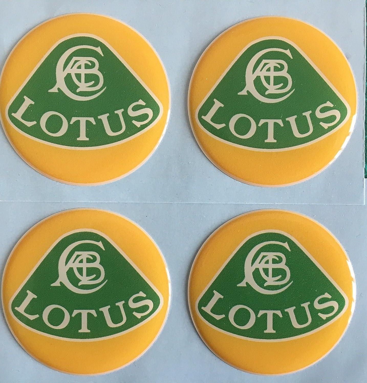 SCOOBY DESIGNS Lotus Centre de roue en alliage capuchon Stickers en forme de d/ôme R/ésine X4/Vert jaune Elan Elise Exige Evora toutes les tailles