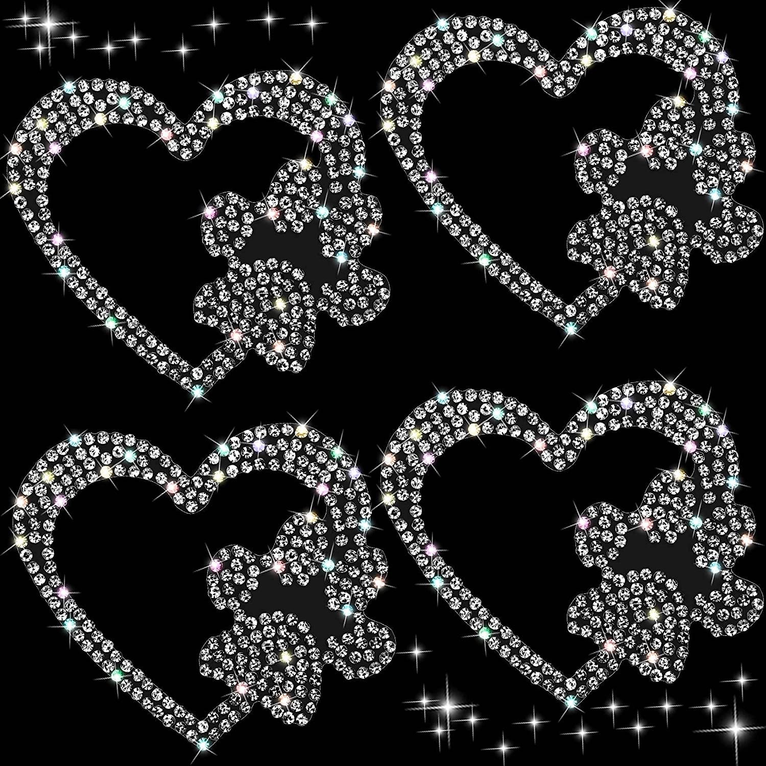 OIIKI 4PCS Car Bling Stickers and Decals, Rhinestone Crystal Heart with Dog Paw Car Stickers, Self-Adhesive White Glitter Rhinestones Decals, for Cars Walls Bumper Window Laptops Decoration(2.36 X 2.36 Inch)