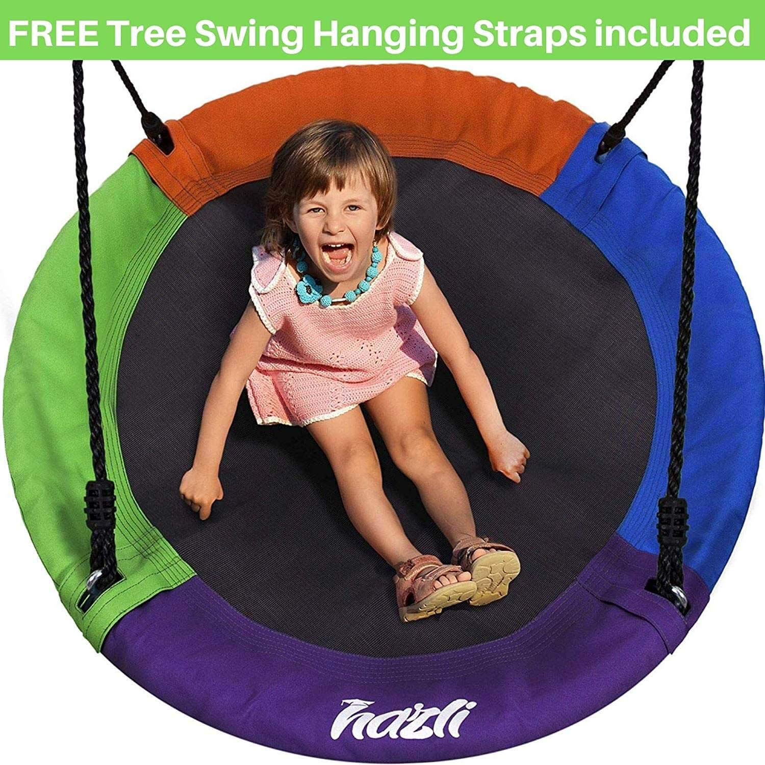 Outdoor Round Tree Swing for Kids - 40'' Saucer Tree Swing for Kids-Large Tree Swings for Children - 400 lbs Tree Swings for Outside with Hanging Kit