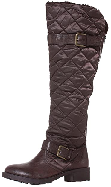 2ca5a114272 Womens Black Riding Winter Ladies Style Low Heel Flat Biker Quilted Over  The Knee High Boots