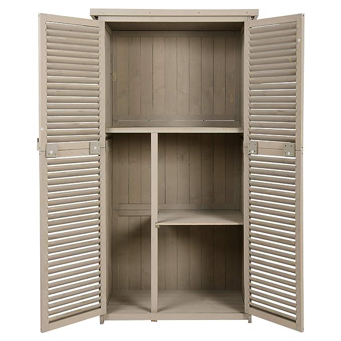 Outsunny Cobertizo Madera Caseta de Exterior Armario para Herramientas de Jardinería Persiana Delantera Compartimientos de Diferentes Tamaños 87x46.5x160cm ...