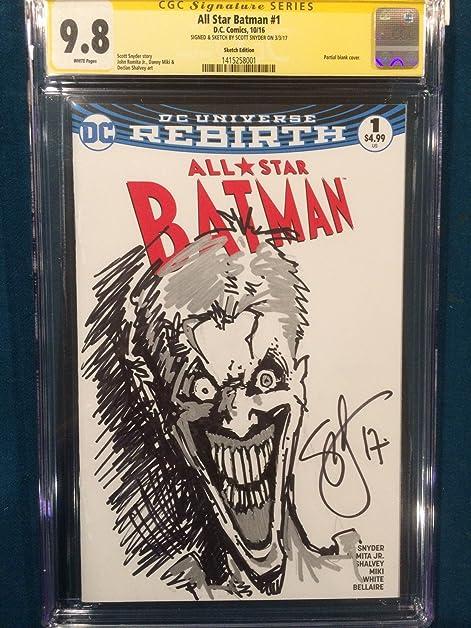 scott snyder original sketch art cgc 98 signed all star batman joker court owls