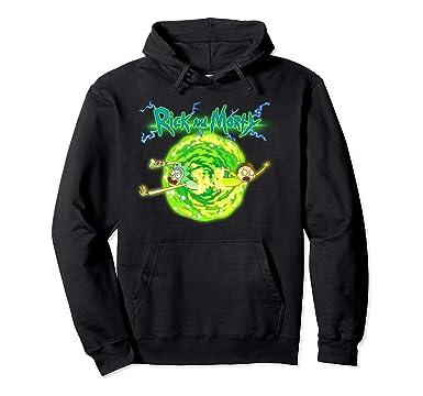 21af7f246ad0 Unisex Rick   Morty Portal Glow Lightning Logo Pullover Hoodie 2XL Black