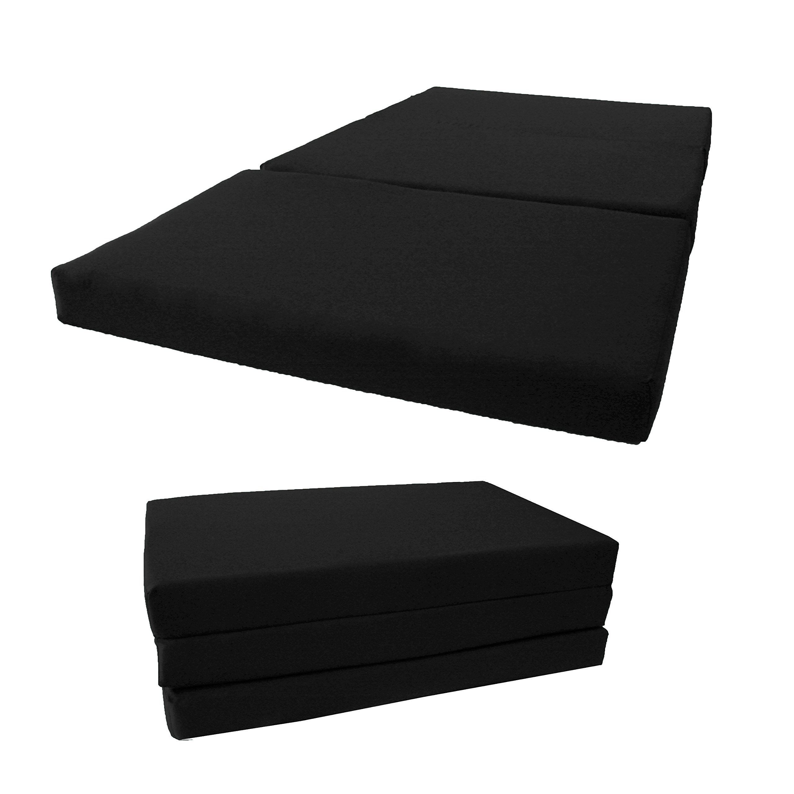Brand New Shikibuton Tri Fold Foam Beds, Tri-Fold Bed, High Density 1.8 lbs Foam, Twin Size, Full, Queen Folding Mattresses. (Queen Size 4x60x80, Black)