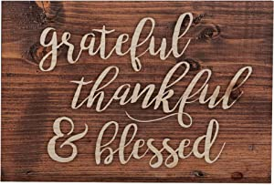 P. Graham Dunn Grateful Thankful Blessed Script Brown 5 x 3.5 Inch Solid Pine Wood Barnhouse Block Sign
