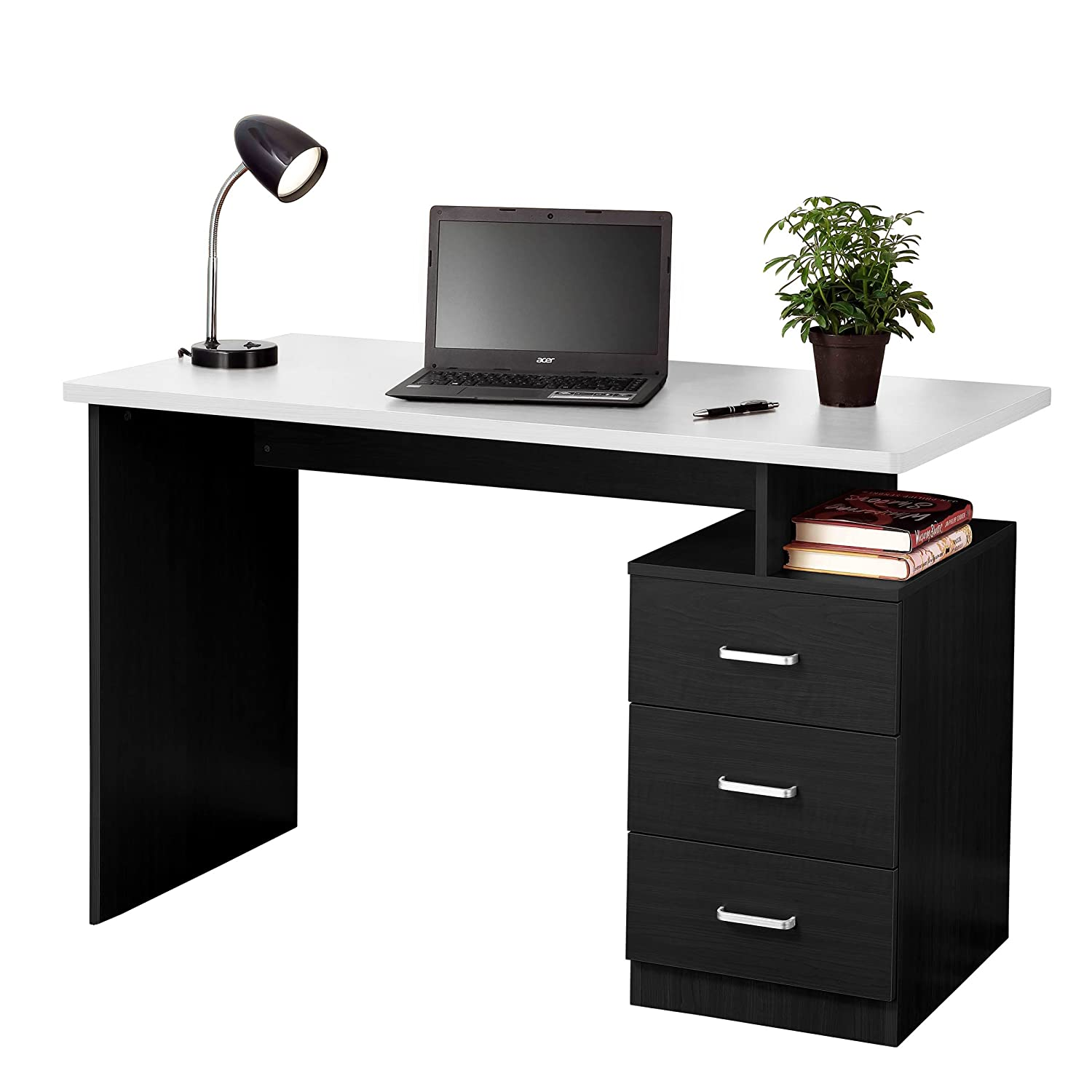 Beau Amazon.com: Fineboard Home Office Desk With 3 Drawers, Black/White: Kitchen  U0026 Dining