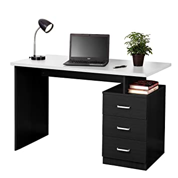 fineboard home office desk with 3 drawers blackwhite black home office desk