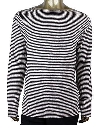 18da9c737 Gucci Men's Blue/Beige Linen Vintage Striped Long Sleeve T-Shirt 408854  4267 (