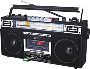 SuperSonic - Retro 4 Band Radio & Cassette Player with Bluetooth, Boomboxes - Black (SC-3201BT)